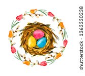 watercolor easter nest with... | Shutterstock . vector #1363330238