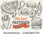 fast food illustrations  burger ... | Shutterstock .eps vector #1363360745