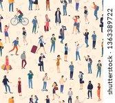 people crowd. seamless  vector... | Shutterstock .eps vector #1363389722