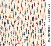 people crowd. seamless  vector... | Shutterstock .eps vector #1363389728