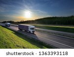 truck transport on the road and ... | Shutterstock . vector #1363393118