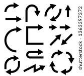 black flat arrows set. bold... | Shutterstock . vector #1363397372