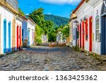 Small photo of Street of historical center in Paraty, Rio de Janeiro, Brazil. Paraty is a preserved Portuguese colonial and Brazilian Imperial municipality