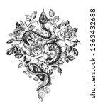 hand drawn creeping garden tree ... | Shutterstock . vector #1363432688