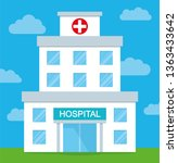 hospital in flat style icon.... | Shutterstock .eps vector #1363433642