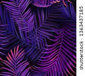 tropical neon palm leaves... | Shutterstock .eps vector #1363437185