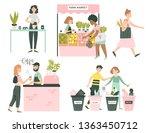 hand drawn vector eco people... | Shutterstock .eps vector #1363450712