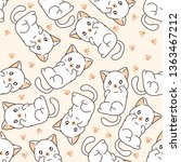 seamless little cat pattern. | Shutterstock .eps vector #1363467212