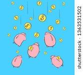 piggy bank icon. a saving or... | Shutterstock .eps vector #1363531502