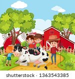 children playing with cow...   Shutterstock .eps vector #1363543385
