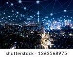 modern city with wireless... | Shutterstock . vector #1363568975