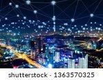 modern city with wireless... | Shutterstock . vector #1363570325