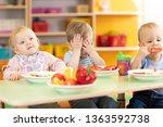 nursery babies have lunch in...   Shutterstock . vector #1363592738