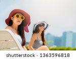two asian woman wearing fashion ... | Shutterstock . vector #1363596818