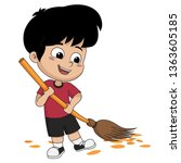 kid help their parents to sweep ... | Shutterstock .eps vector #1363605185