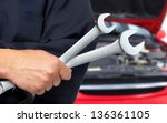 hand with wrench. auto mechanic ... | Shutterstock . vector #136361105