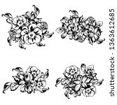 flowers set. collection of... | Shutterstock . vector #1363612685