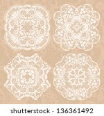 set of four lace decorative... | Shutterstock .eps vector #136361492