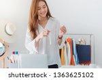 beautiful asian woman fashion... | Shutterstock . vector #1363625102