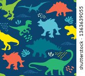 Seamless  Bright  Dino Pattern  ...
