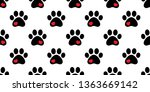 Dog Paw Seamless Pattern Vector ...