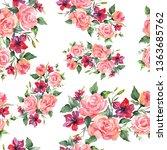pink rose bouquet botanical...   Shutterstock . vector #1363685762