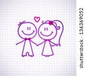 hand drawn wedding couple on... | Shutterstock .eps vector #136369052