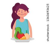 woman and food health | Shutterstock .eps vector #1363693625