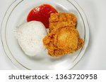 Fried Chicken On White Plate...