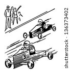 soap box derby   retro clip art ... | Shutterstock .eps vector #136373402