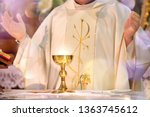 chalice at the altar with rays... | Shutterstock . vector #1363745612