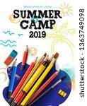 themed summer camp poster 2019  ... | Shutterstock .eps vector #1363749098
