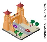 fortress gate  trees  roadway ... | Shutterstock .eps vector #1363779398