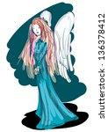 strange melancholic angel | Shutterstock .eps vector #136378412