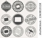 colorado set of stamps. travel... | Shutterstock .eps vector #1363813118