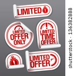 limited offer sale stickers set. | Shutterstock .eps vector #136382888