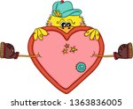 funny yellow bird with a big...   Shutterstock .eps vector #1363836005