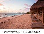 luxury beach with beach chairs  ... | Shutterstock . vector #1363845335