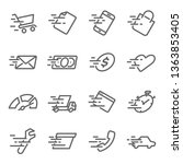 fast speed icon set. contains... | Shutterstock .eps vector #1363853405