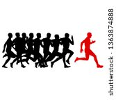 set of silhouettes. runners on... | Shutterstock . vector #1363874888