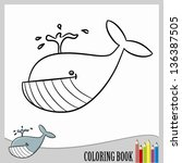 coloring book   cartoon whale ... | Shutterstock .eps vector #136387505