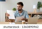 satisfied man reading paper... | Shutterstock . vector #1363890962