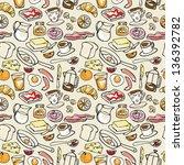 various breakfast items... | Shutterstock .eps vector #136392782