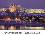 Night Colorful Snowy Prague...