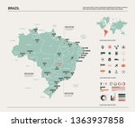 vector map of brazil.  high... | Shutterstock .eps vector #1363937858