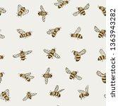 bees seamless pattern | Shutterstock . vector #1363943282