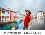 smiling young tourist traveling ... | Shutterstock . vector #1363943798