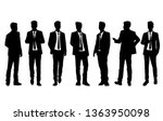 set of silhouettes man standing ... | Shutterstock .eps vector #1363950098