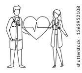 couple of professionals doctors ... | Shutterstock .eps vector #1363952108