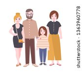 portrait of cute loving family. ... | Shutterstock . vector #1363960778